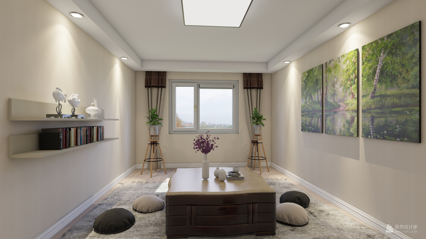 田园风格四室一厅装修设计图