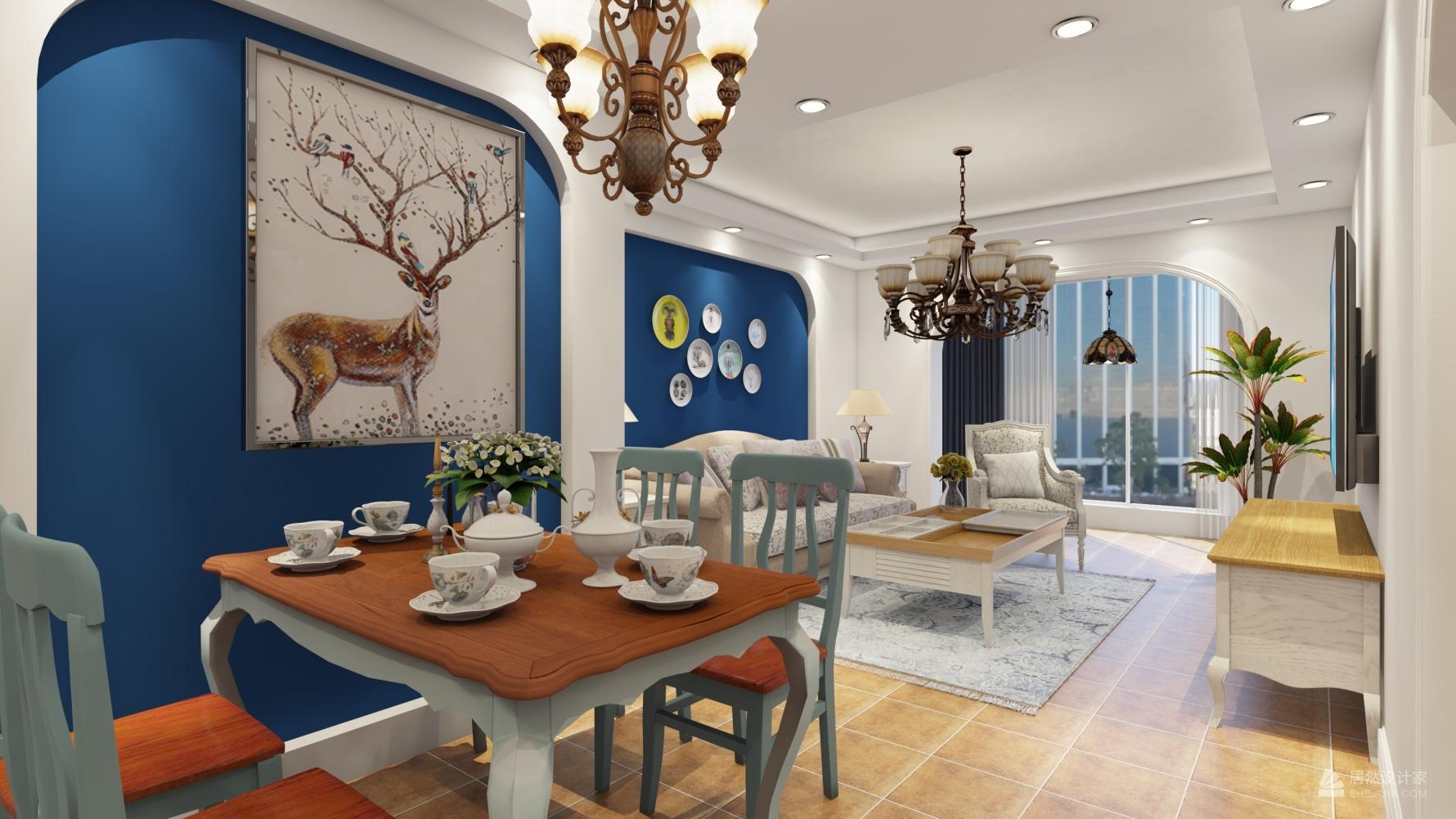 地中海风格两室两厅装修设计图