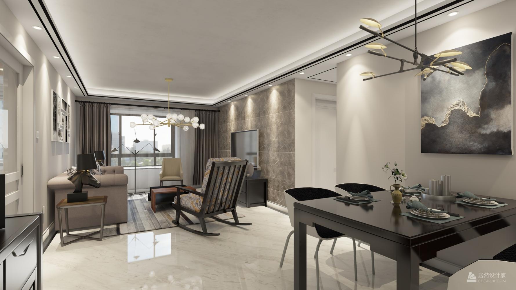 现代风格两室两厅装修设计图