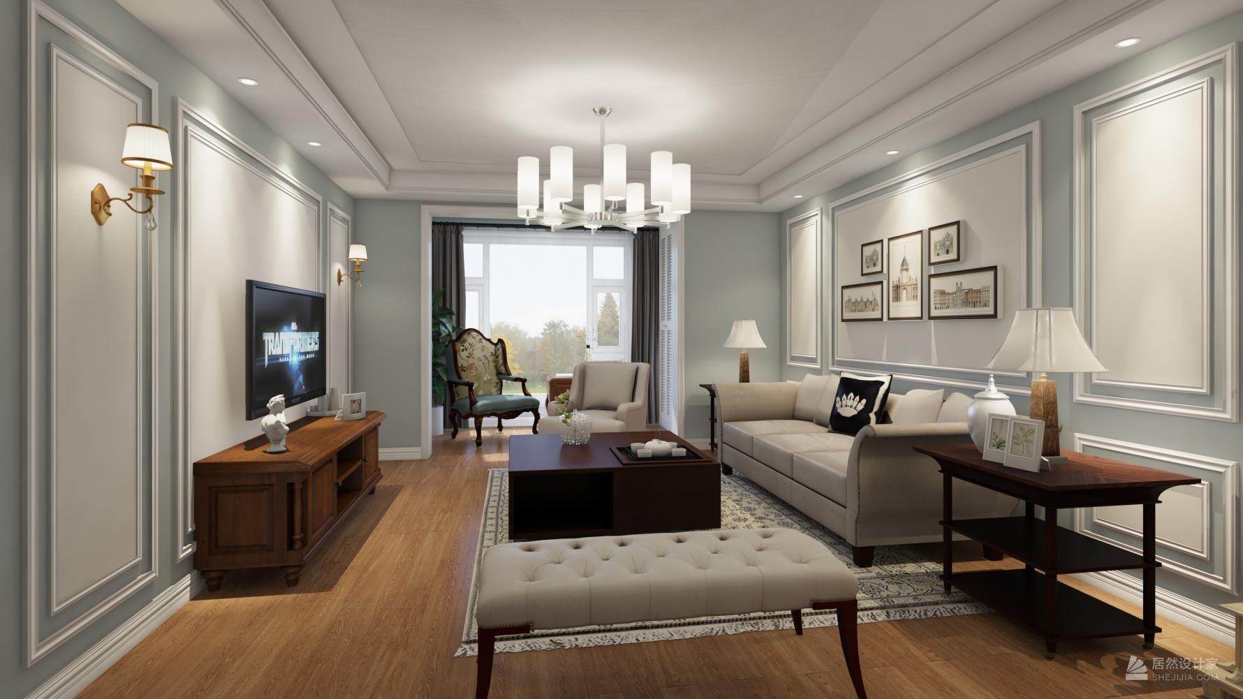 美式风格三室两厅装修设计效果图