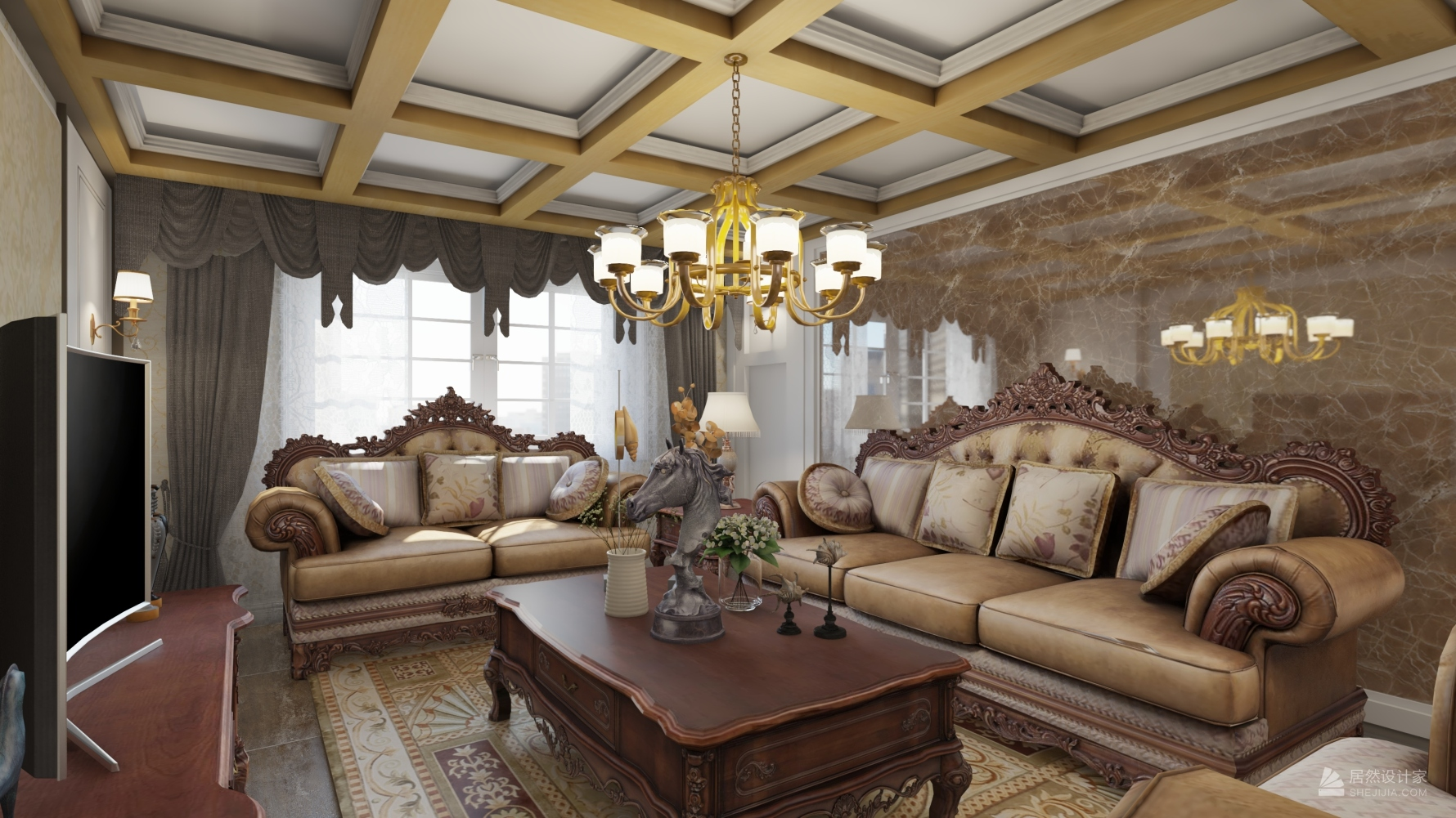 欧式风格三室两厅装修设计图