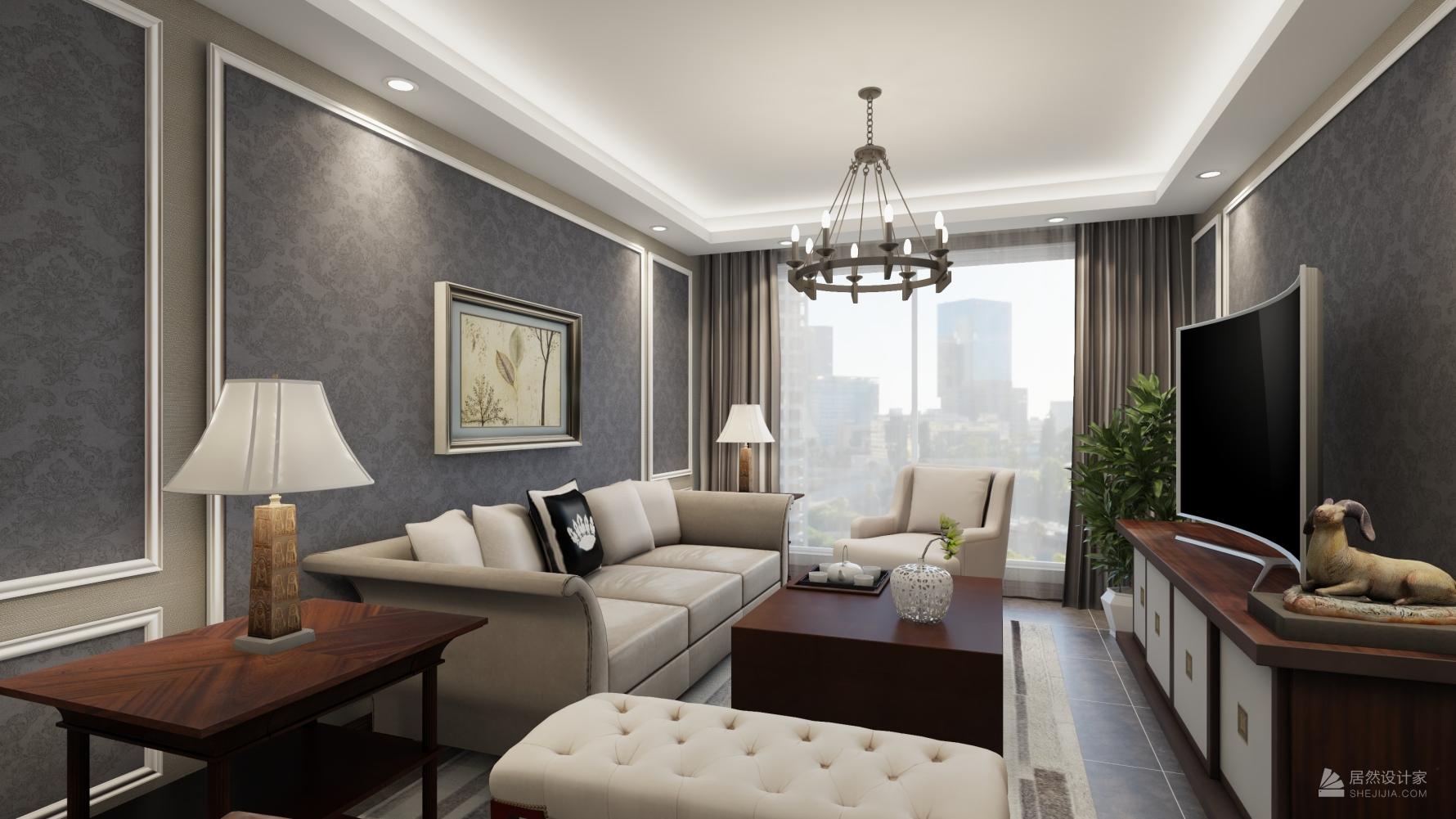 新古典风格两室一厅装修设计图