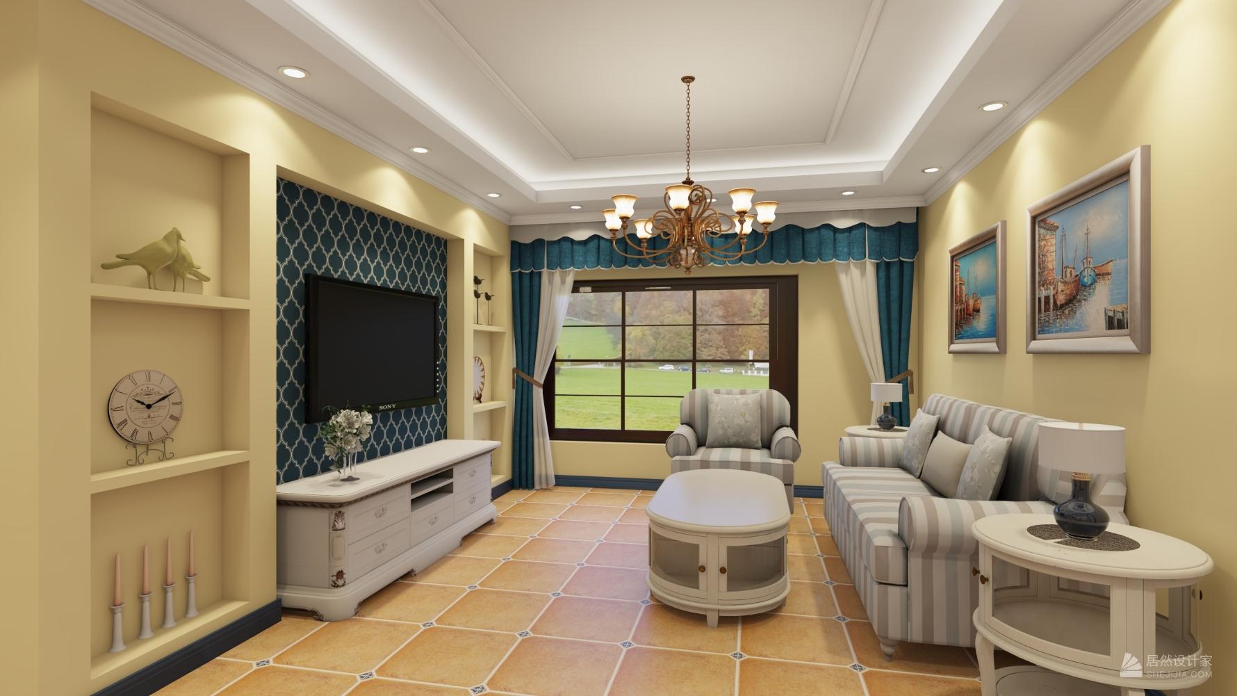 地中海风格两室一厅装修设计效果图