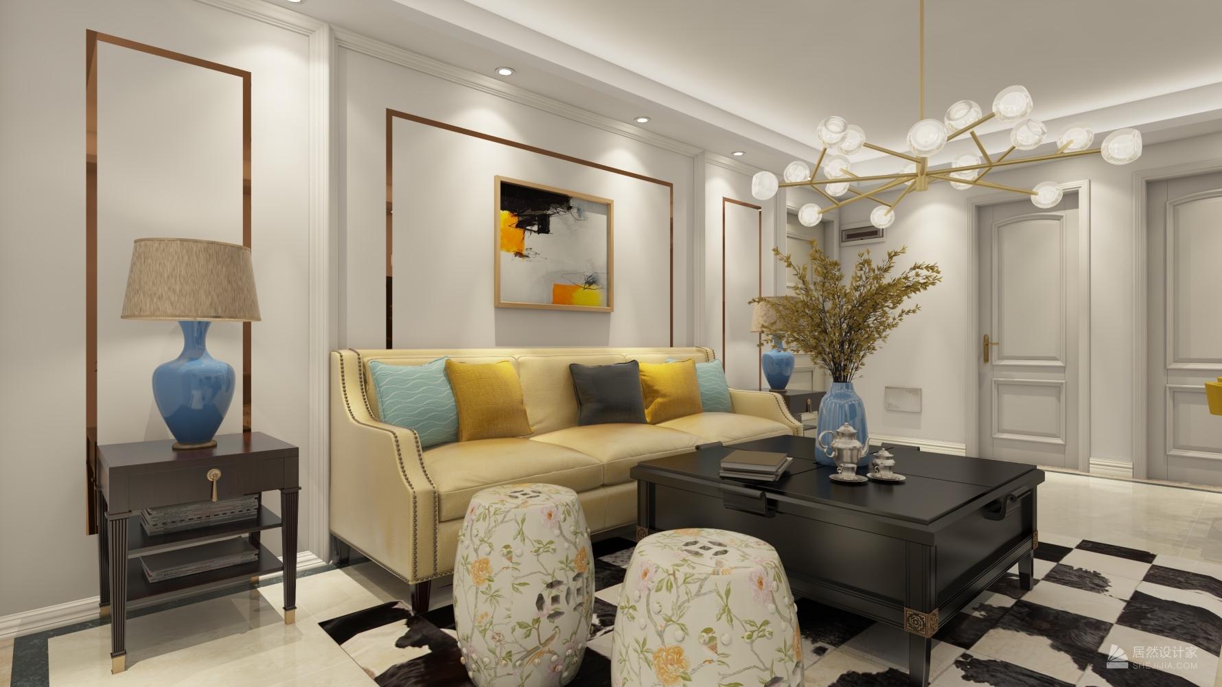 美式风格一室两厅装修设计效果图