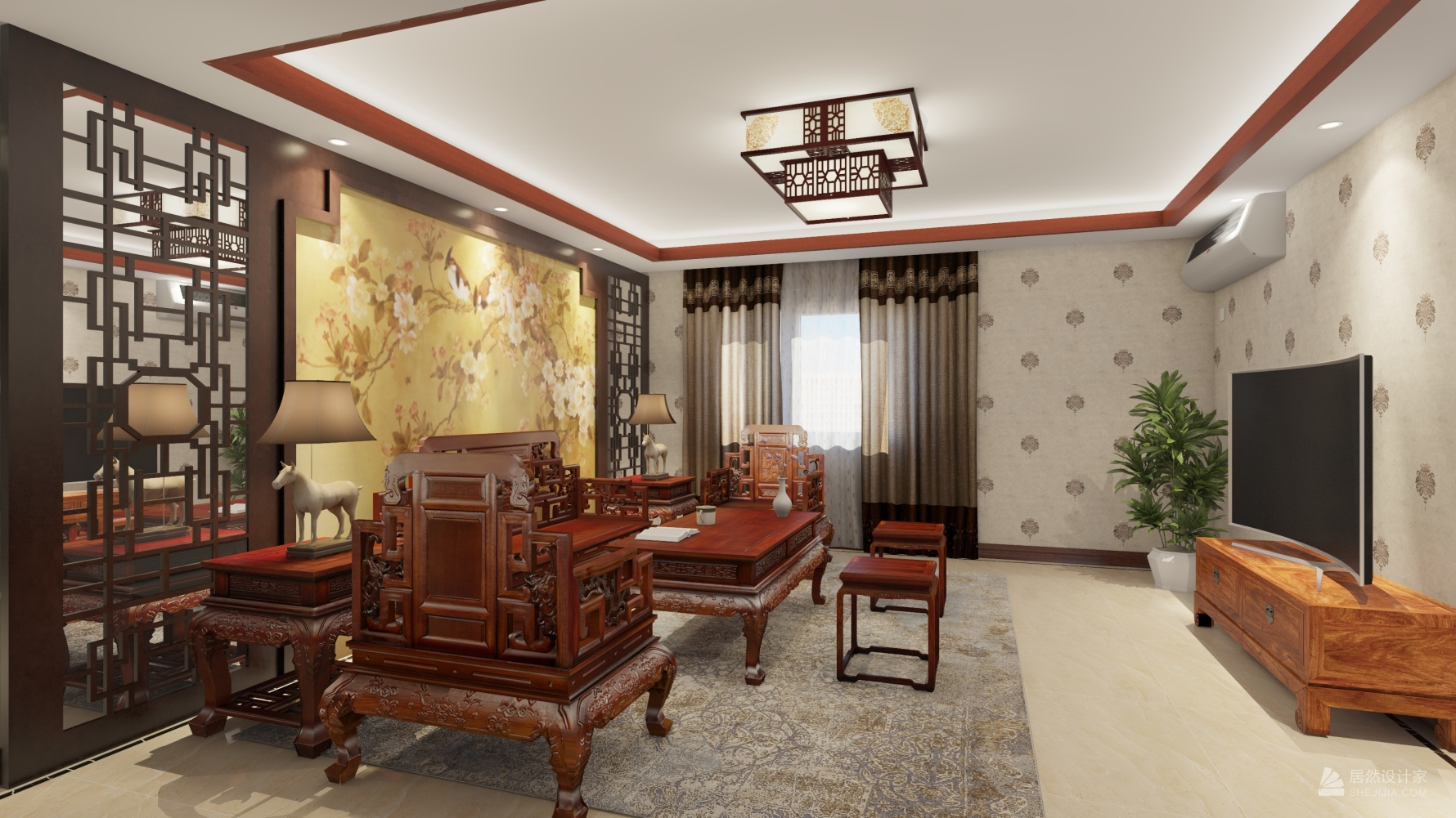 中式风格两室两厅装修设计图