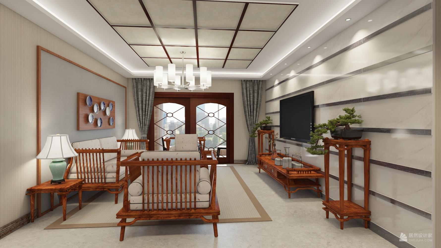 东南亚风格三室两厅装修设计图