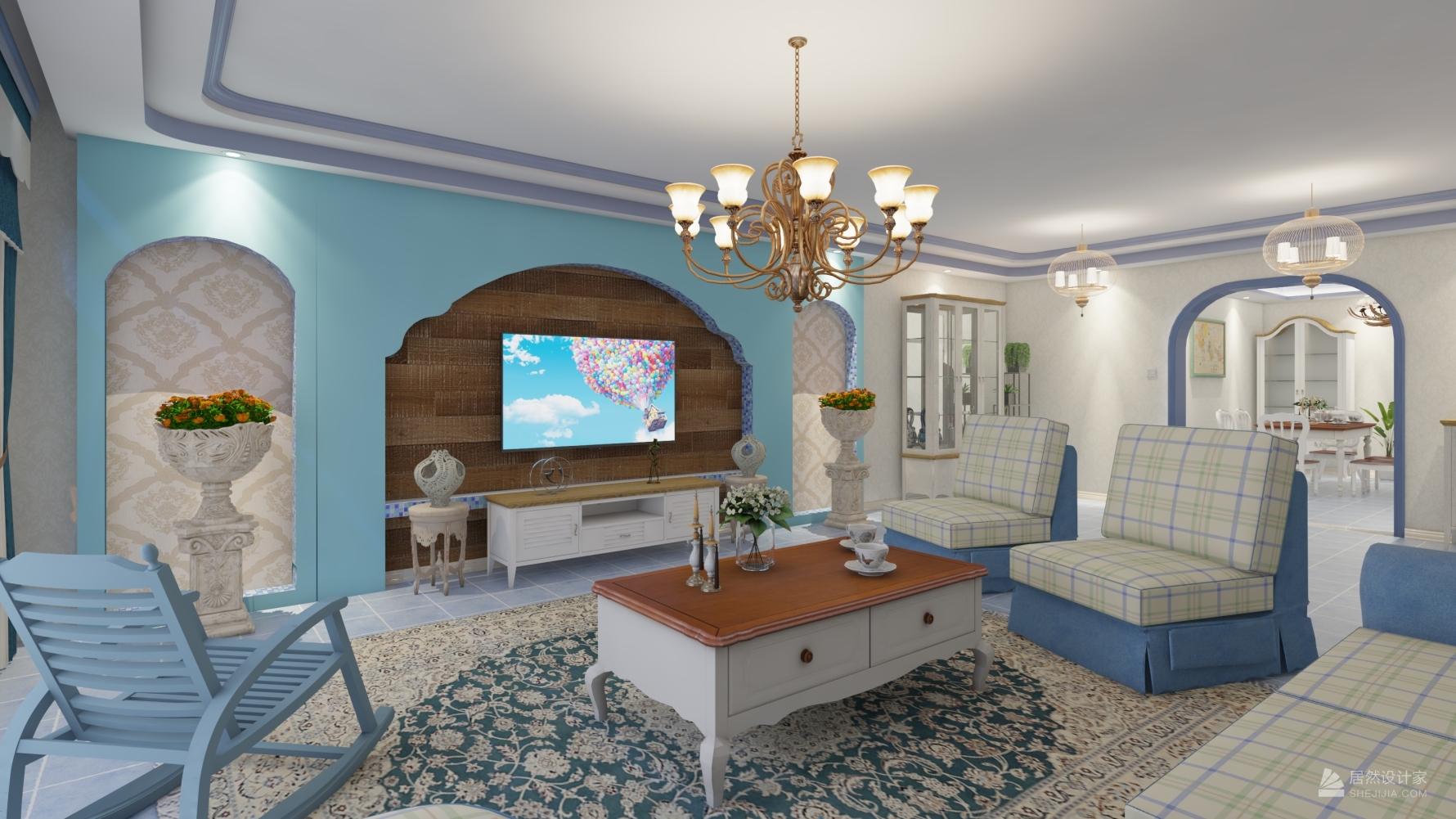 地中海风格四室一厅装修设计图