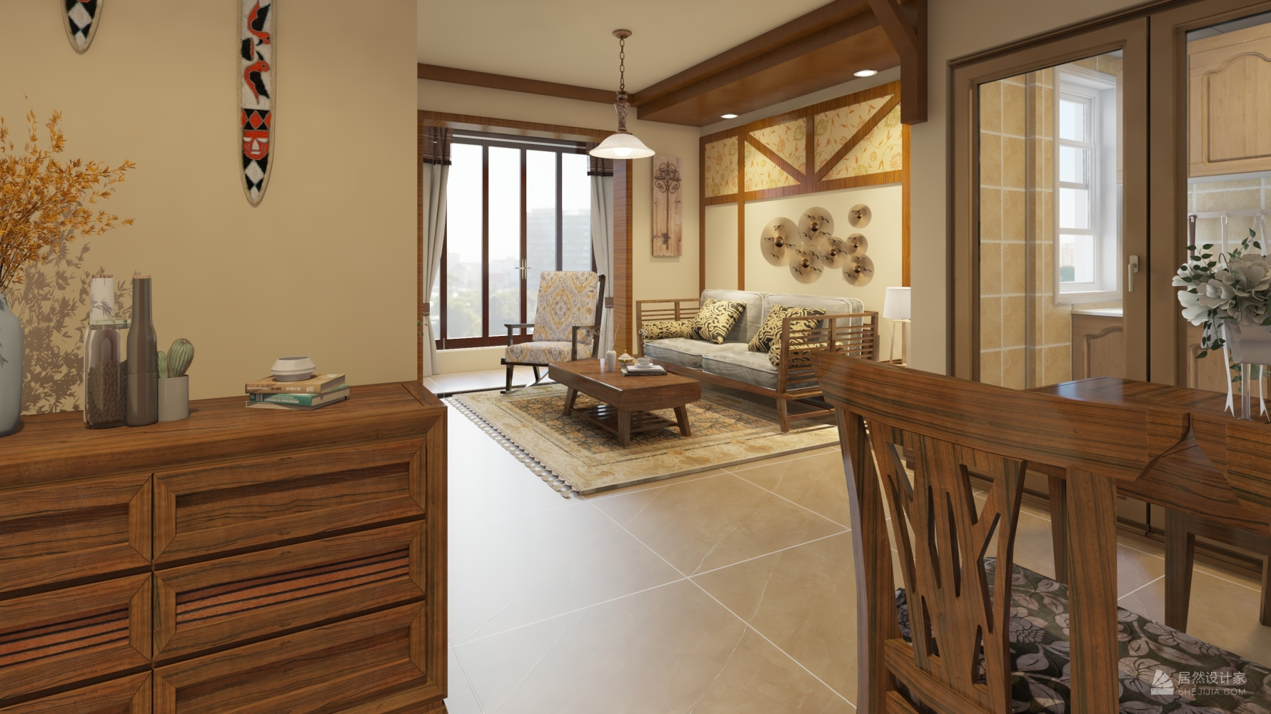 东南亚风格一室两厅装修设计效果图