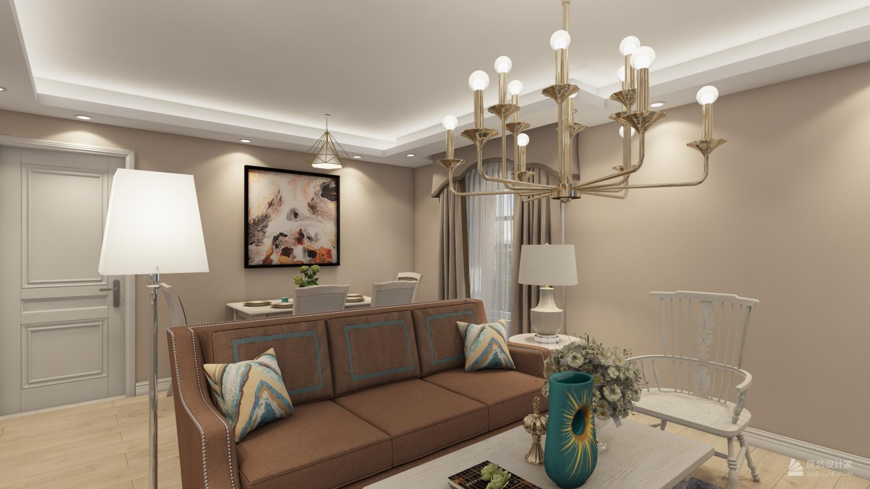 美式风格一室一厅装修设计图