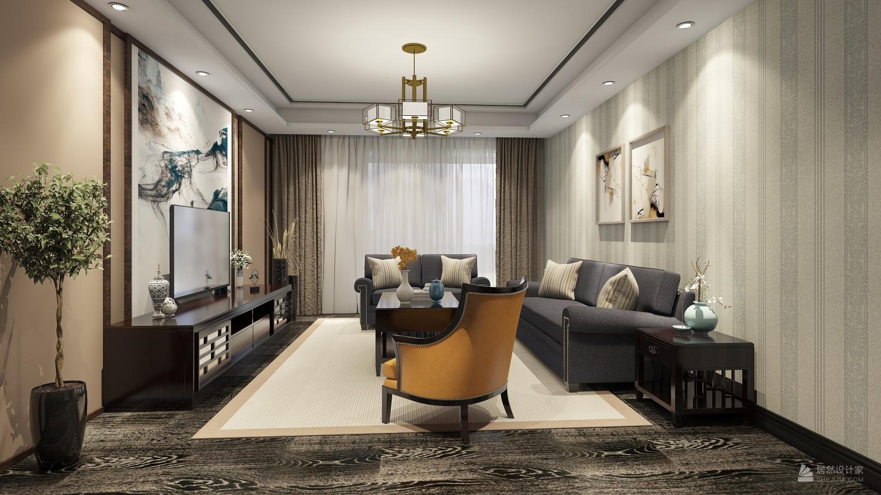 中式风格三室两厅装修设计图