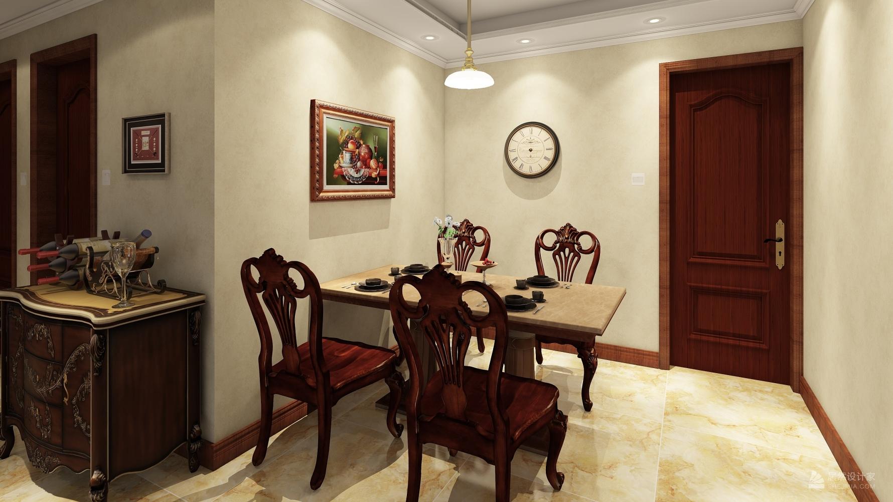 欧式风格三室两厅装修设计效果图