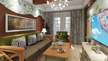 田园风格一室两厅装修设计效果图